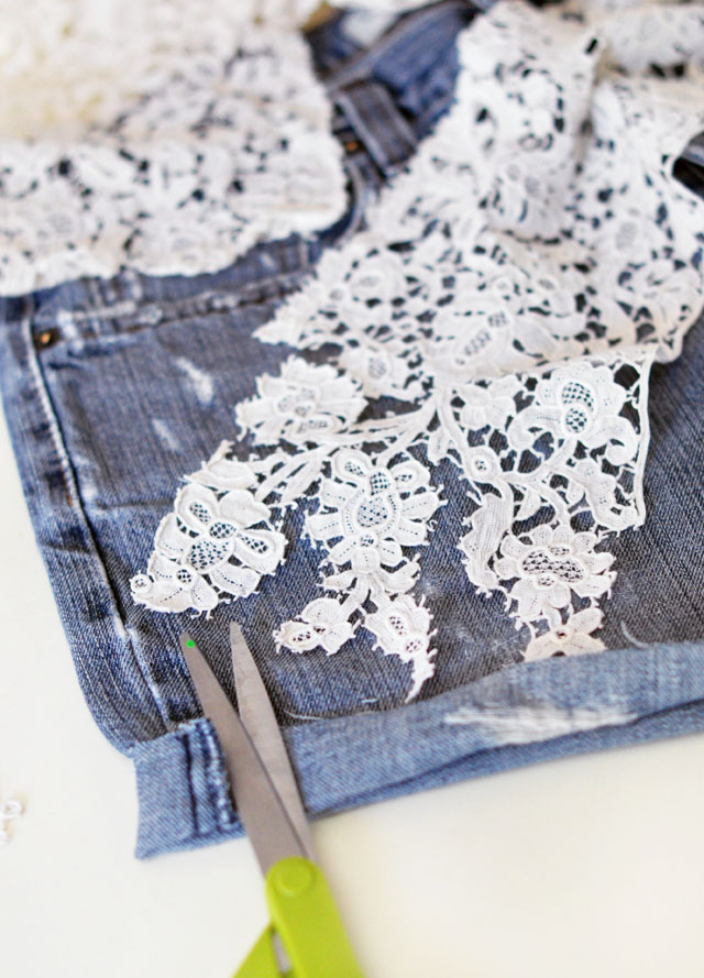 DIY Lace Jean Shorts | Vintage Lace Embroidered Denim Cut Offs | ...love Maegan