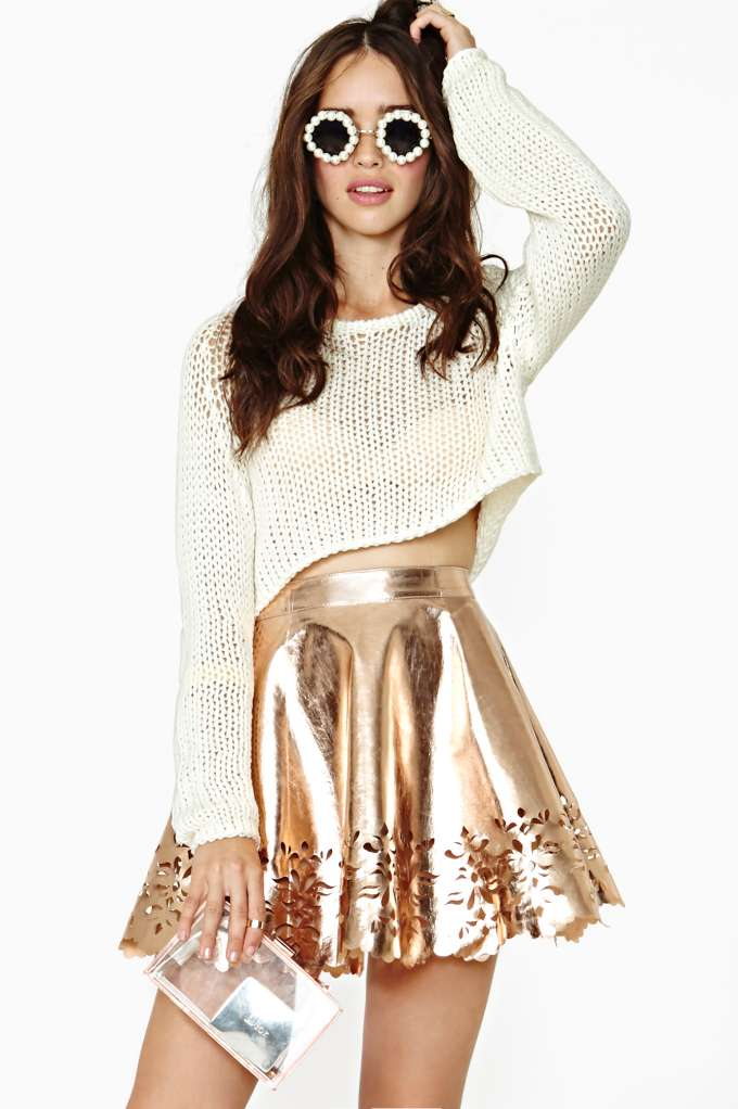 Reverse Metal Petal Faux Leather Skater Skirt in  Clothes Bottoms Skirts at Nasty Gal