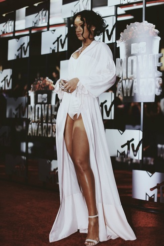 cardigan robe silk long white jumpsuit rihanna celebrities in white