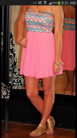 dress pink dress chevron aztex colorful dress