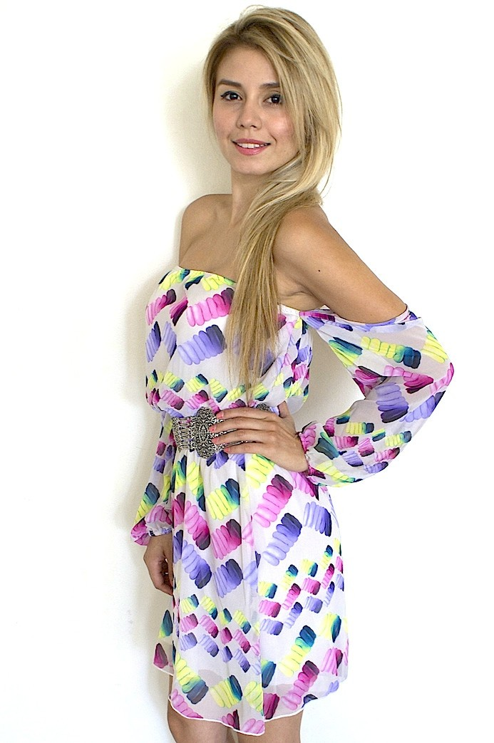 Multi Color Print Off the Shoulder Dress