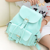pastel bag,pastel green,backpack,mint,leather backpack,bag,h&m,mint color,school bag,sac,blue,menthe,menthol,menthol color,mint green bag,green blue,light blue,comfy,cute