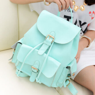 pastel bag pastel green backpack mint leather backpack bag h&m mint color school bag sac blue menthe menthol menthol color mint green bag green blue light blue comfy cute