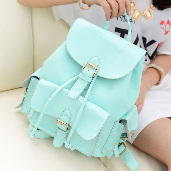 bag blue backpack fun hippie shorts teal pastel satchel cute small