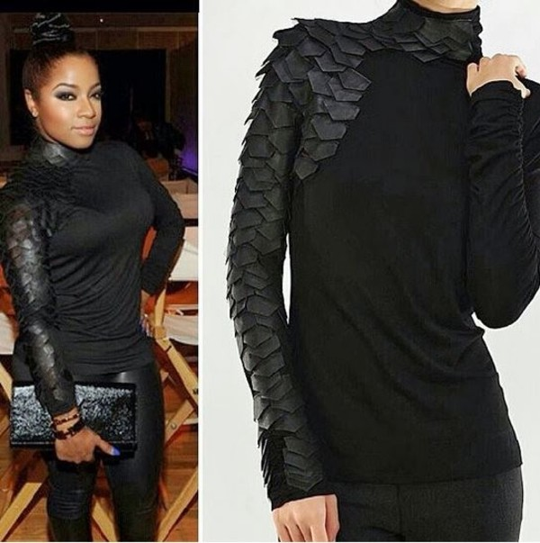 Celebrity Style Long Sleeve Turtleneck Faux Leather Armor