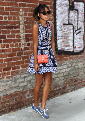 shoes red bag blue print dress blogger sunglasses new balance sneaker