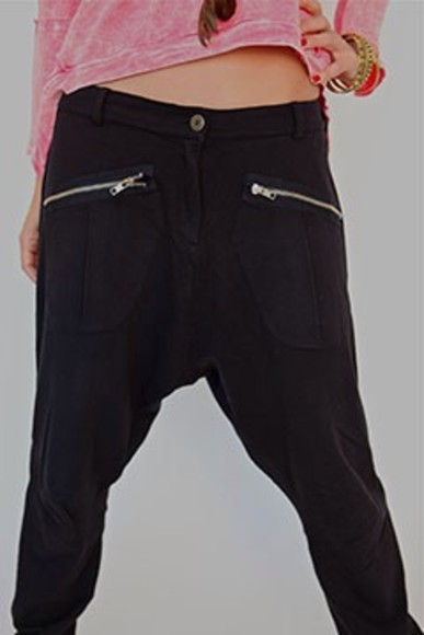 pants harem black zipper nappytabs