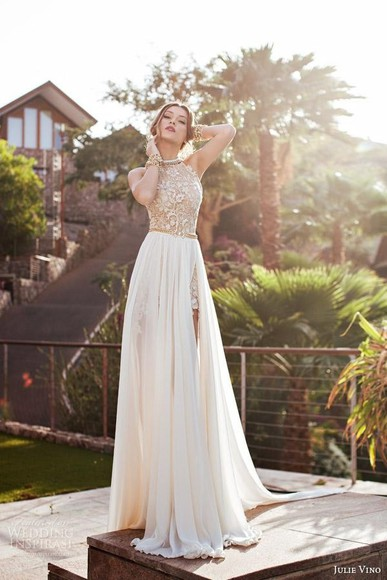 wedding dress prom dress chiffon dress party dress split front dress high neck beading gold