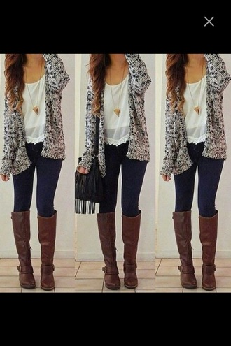 cardigan thigh-high boots jeans denim chiffon necklace gold gold necklace grey grey cardigan outfit fall outfits