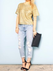 Gold Sequin T-Shirt by Glassworks - Glassworks Studios