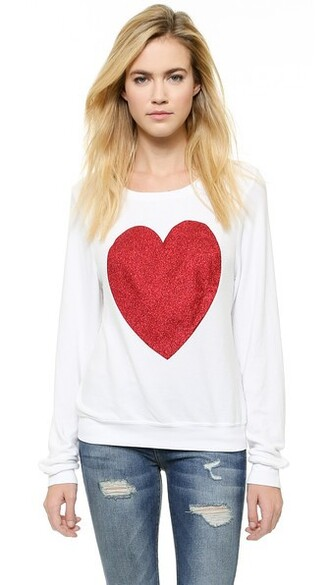 pullover heart beach sparkle white sweater