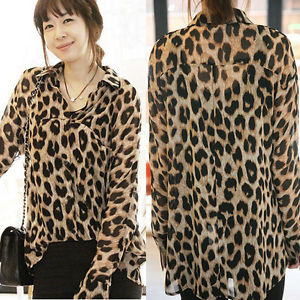 Fashion Womens Leopard Print Long Sleeve Button Down Chiffon T-Shirt Blouse Tops