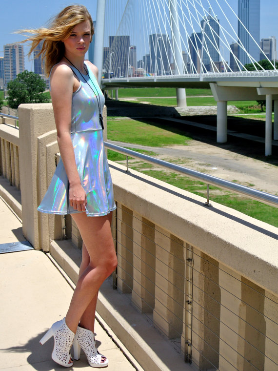 Holographic Dress with Open Back