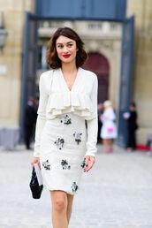 dress,fashion week street style,fashion week 2016,fashion week,paris fashion week 2016,midi dress,white dress,ruffle,ruffle dress,long sleeves,bag,black bag,long sleeve dress,streetstyle
