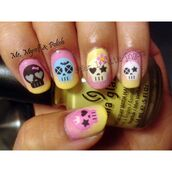 nail accessories,decoration,nails,art,diy,ombre,colorful,pink yellow,skull,bones,rock,flowers,sugar,flower earings
