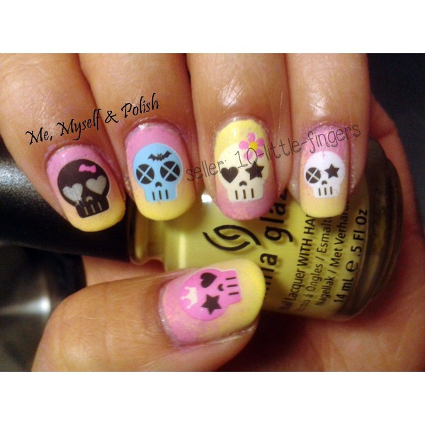 nail accessories decoration nails nails art diy ombre colorful pink yellow skull bones rock flowers sugar flower earings