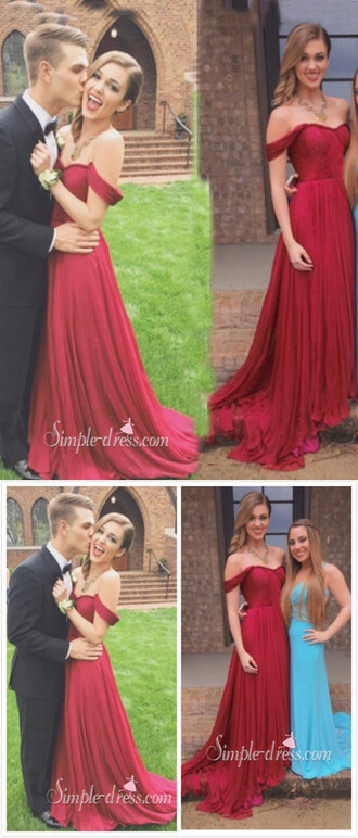 dress prom dress 2016 long prom dress evening dress off shoulder prom dress chiffon prom dress red prom dress