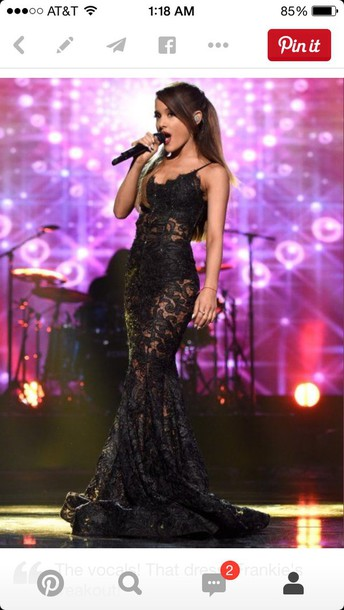 dress ariana grande lace dress mermaid prom dress