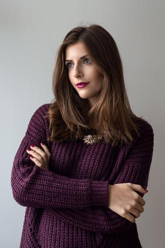 simple et chic blogger jewels plum statement necklace