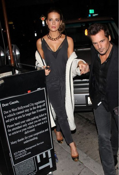 jumpsuit black kate beckinsale shoes cardigan