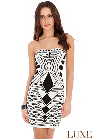 Strapless Print Bodycon Dress