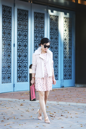 hallie daily,blogger,baby pink,nude high heels,pouch,pink dress,t-shirt,jacket,dress,shoes,bag,sunglasses,jewels