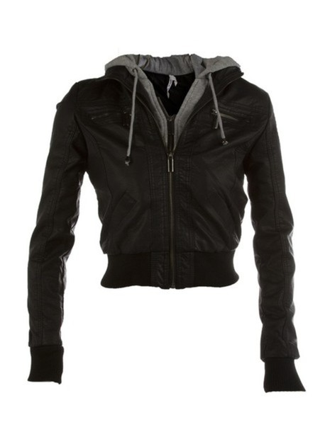 eaa0db75e Black leather jacket with grey hoodie – Women clothing stores