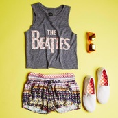 shorts,the beatles,graphic tee,shoes,keds,vans,soft shorts,pajamas,aztec,flowers,sunglasses,orange,print,top
