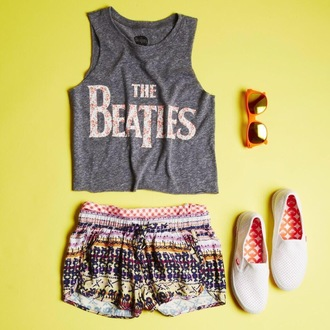shorts the beatles graphic tee shoes keds vans soft shorts pajamas aztec flowers sunglasses orange print top