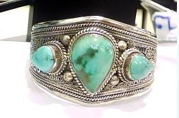 Tibetan Turquoise Bracelet Handmade Tibetan Sterling Silver Bracelet - Wishbop.com