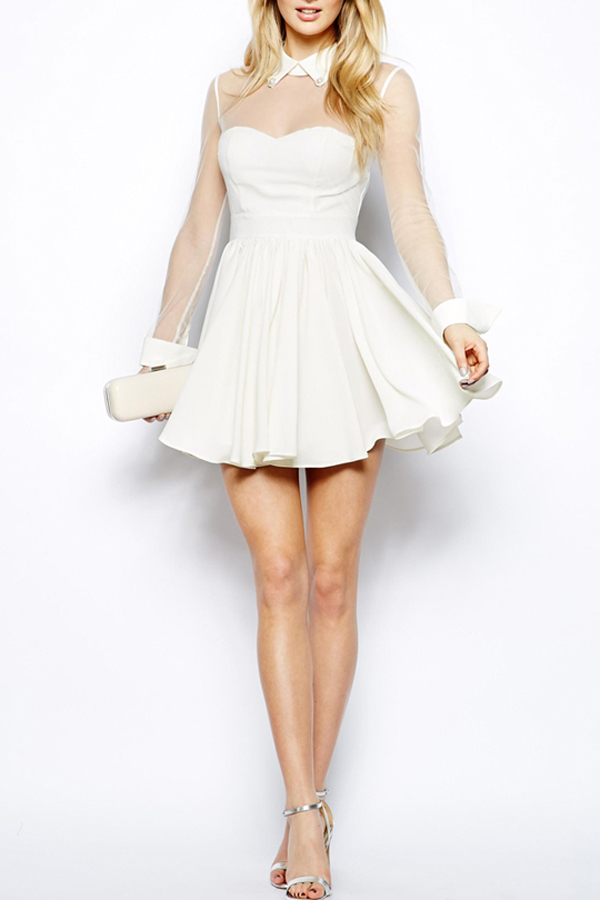 Snow White Skater Dress with Rhinestones [FXBI00577] - PersunMall.com