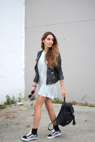 shoes white dress leather jacket sunglasses black backpack black sneakers vans blogger
