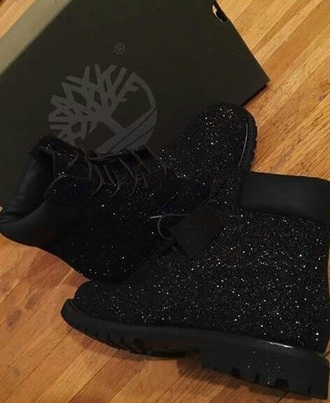 shoes timberland timberland boots shoes glitter black black boots cute