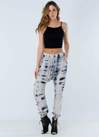 pants blue and white joggers tie dye