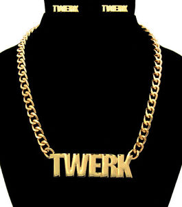 "New ""TWERK"" Statement Necklace & Earrings SET Link Chain CHUNKY 18"" Gold-HOT 