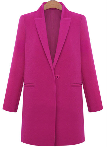 Rose Red Lapel Long Sleeve Loose Woolen Coat - Sheinside.com