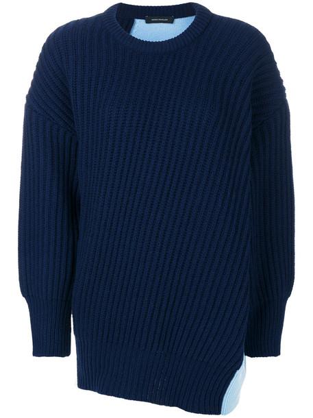 Cédric Charlier jumper patchwork women blue wool knit sweater