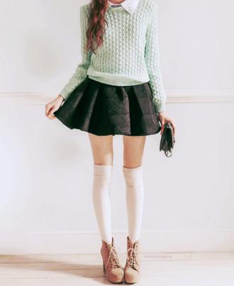sweater black black skirt knee high socks white knee high socks mint mint knit sweater shirt skirt underwear