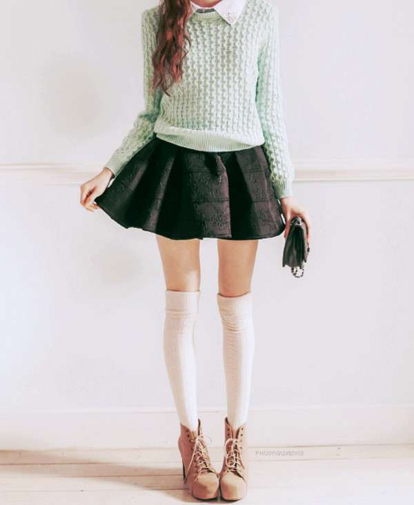 sweater black black skirt knee high socks white knee high socks mint mint knit sweater shirt skirt underwear