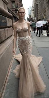 dress,beige,sparkle,glitter,nude,strapless,prom dress,long,mermaid tail