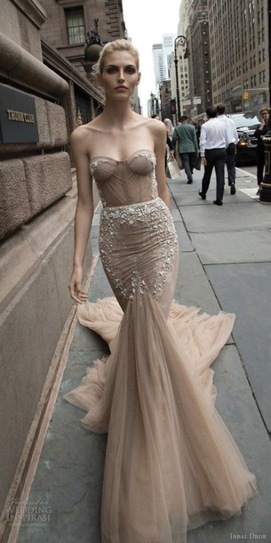 Dress Beige Sparkle Glitter Nude Strapless Prom Dress Long