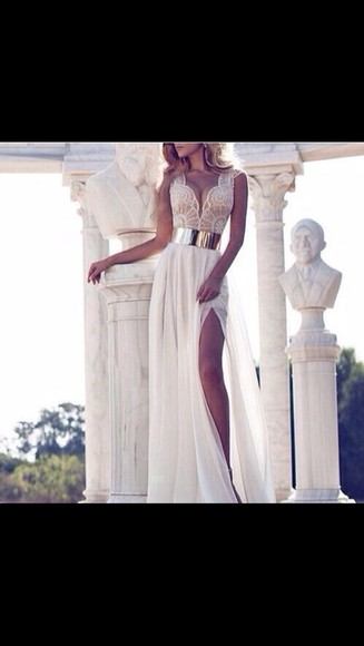 prom dress cream dress lace dress gold dress Belt white dress classy lace long long prom dress
