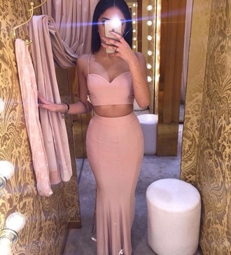 dress pink prom dress prom dress two piece dress set shirt nude pink two-piece pink dress maxi dress