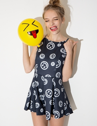 dress chic party dress pixie market smiley face summer dress korean fashion korean style romper romper shorts
