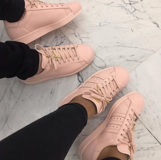 shoes pink adidas adidas superstars pastel trainers cute girly baby pink
