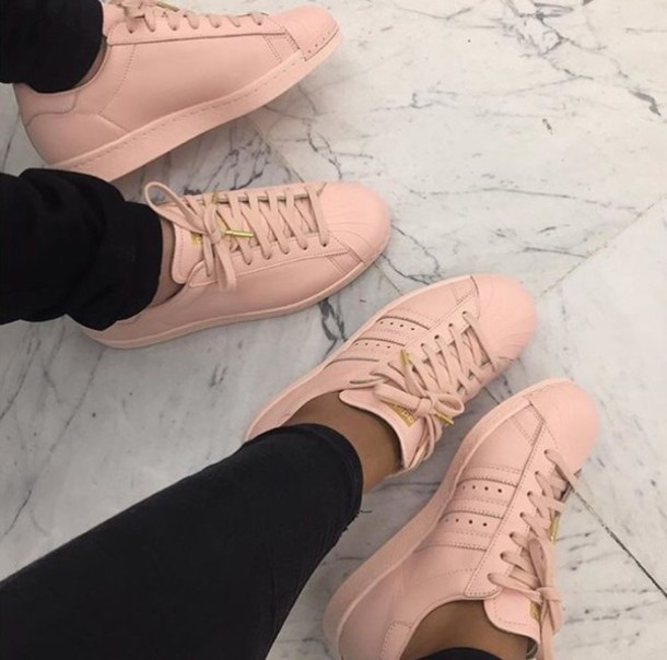 e7ca552f9 shoes pink adidas adidas superstars pastel trainers cute girly baby pink