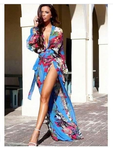 Tropical blue dresses