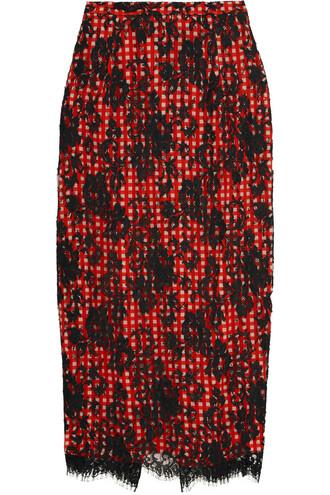 skirt midi skirt midi lace cotton gingham red