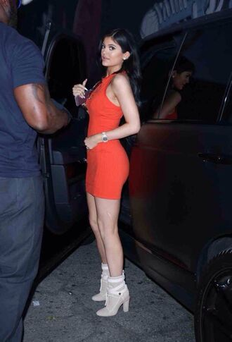 dress kylie jenner orange dress orange bodycon dress high heels sexy dress summer dress shoes sexy