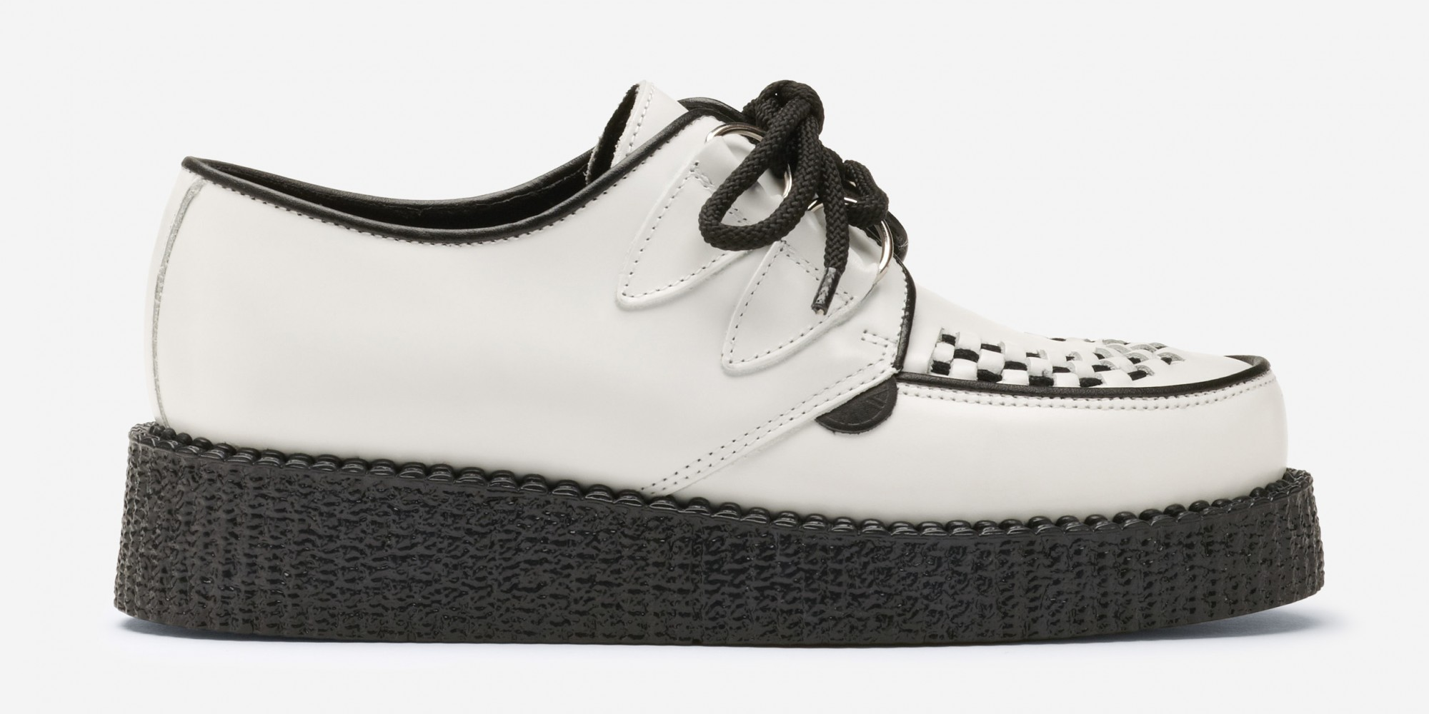 Underground Leather Brothel Creepers | Single Sole Wulfrun Creepers White Leather | Shoes,Creepers,Underground,England